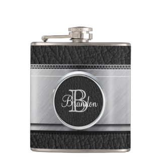 Monogram Black Leather Look Stainless Steel Flask