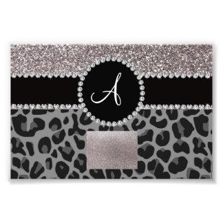 Monogram black leopard silver glitter photo print