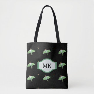Monogram Black Luna Moth Pattern Tote Bag