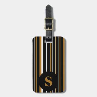 Monogram Black Matte Gold Barcode Circle Stripe Luggage Tag