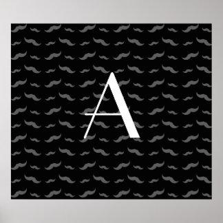 Monogram black mustache pattern poster