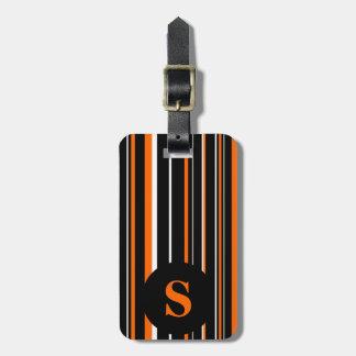 Monogram Black, Orange, Barcode Circle Stripe Luggage Tag