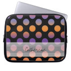 Monogram Black Orange Purple Red Polka Dot Pattern Laptop Sleeve