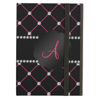 Monogram Black pink diamonds iPad Air Case