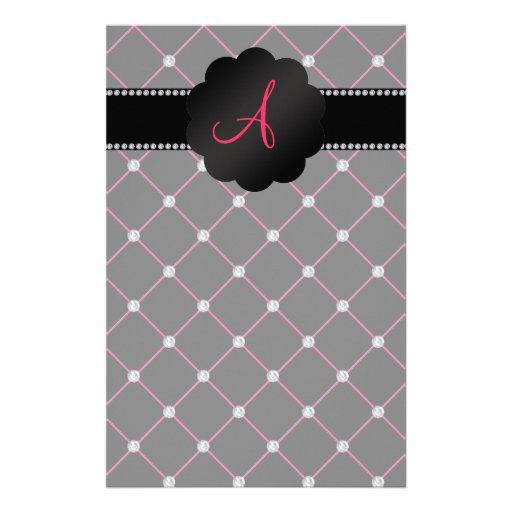 Monogram Black pink diamonds Stationery Paper