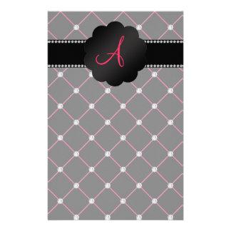 Monogram Black pink diamonds Stationery Design