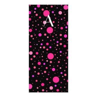 Monogram black pink polka dots customised rack card
