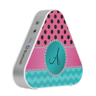 Monogram black pink polka dots turquoise chevrons