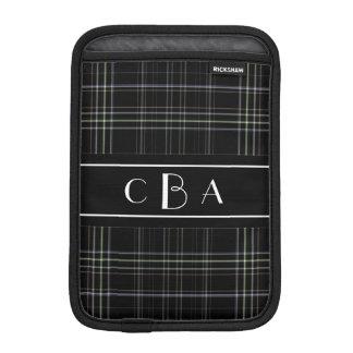 Monogram Black Plaid iPad Mini Sleeve