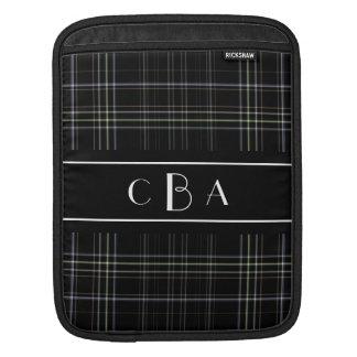 Monogram Black Plaid Sleeve For iPads