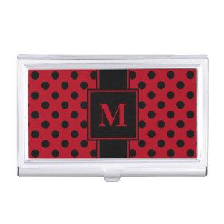 Monogram Black Polka Dot on Dark Red Business Card Holder