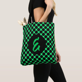 Monogram Black Polka Dots On Kiwi Green Tote Bag
