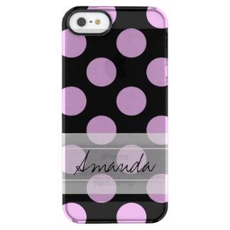 Monogram Black Purple Chic Polka Dot Pattern Clear iPhone SE/5/5s Case