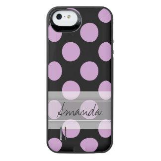 Monogram Black Purple Chic Polka Dot Pattern iPhone SE/5/5s Battery Case