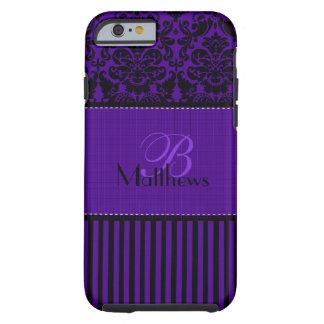 Monogram Black, Purple Damask Stripe iPhone 6 case Tough iPhone 6 Case
