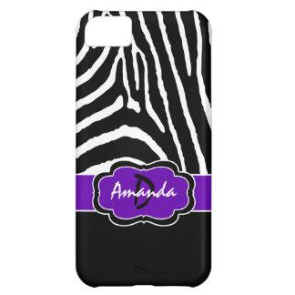 Monogram Black, Purple Zebra Stripe iPhone 5C Case