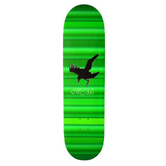 Monogram, Black Raven logo on green chrome-effect Skate Decks