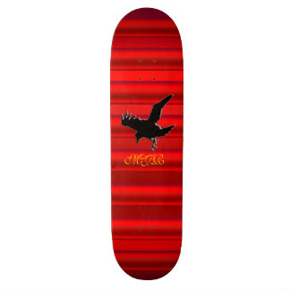 Monogram Black Raven logo on red chrome-effect Skateboards