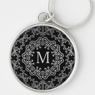 Monogram Black & Silver Filigree Motif Key Chain