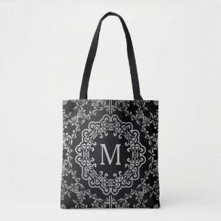 Monogram Black & Silver Filigree Motif Tote Bag