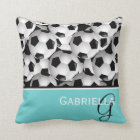 Monogram  Black Soccer Ball Pattern Cushion