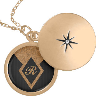 Monogram Black Tan Elegant Round Locket Necklace