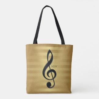 Monogram Black Treble Clef on Golden Stripes Tote Bag