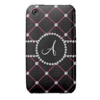 Monogram black tuft diamonds iPhone 3 Case-Mate cases