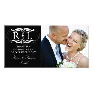 Monogram Black Wedding Photo Thank You Cards Photo Card Template