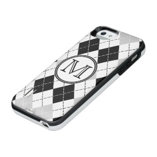 Monogram Black White and Gray Argyle iPhone SE/5/5s Battery Case