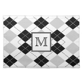 Monogram Black White and Gray Argyle Placemat