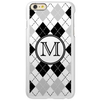 Monogram Black White and Gray Argyle Incipio Feather® Shine iPhone 6 Plus Case