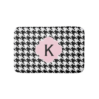 Monogram Black, White and Pastel Pink Houndstooth Bath Mat