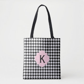 Monogram Black, White and Pastel Pink Houndstooth Tote Bag