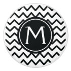 Monogram Black & White Chevron Stripes Ceramic Knob