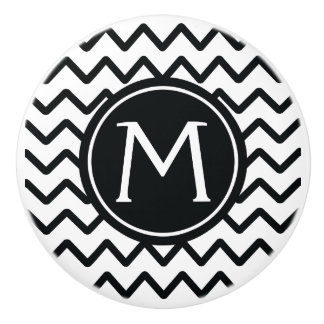 Monogram Black & White Chevron Stripes Ceramic Knob