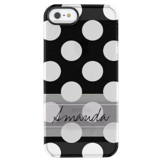 Monogram Black White Chic Polka Dot Pattern Clear iPhone SE/5/5s Case