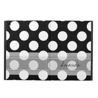 Monogram Black White Chic Polka Dot Pattern iPad Air Case