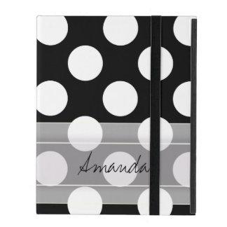 Monogram Black White Chic Polka Dot Pattern iPad Folio Cover