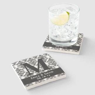Monogram Black & White Damask Elegant Wedding Stone Beverage Coaster