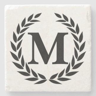 Monogram Black & White Elegant Stone Coaster