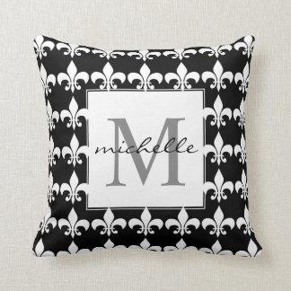 Monogram Black & white Fleur de Lis Pattern Cushion