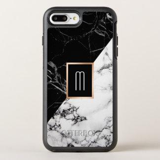 Monogram Black White Marble Texture Fashion Look OtterBox Symmetry iPhone 7 Plus Case