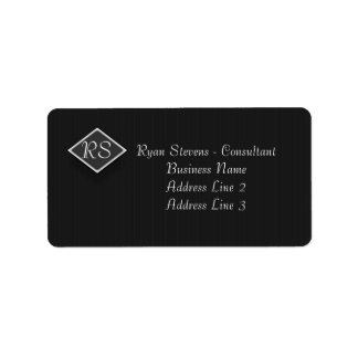 Monogram Black White Pinstripe Address Label