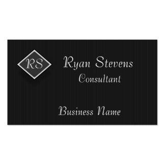 Monogram Black White Pinstripe  Business Card Temp