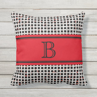 Monogram Black White Red Elegant Pattern Cushion