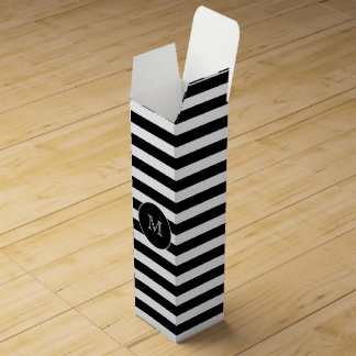 Monogram Black & White Stripes Wine Gift Box