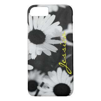 Monogram, Black & White Sunflowers iPhone 7 case