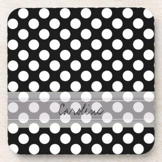 Monogram Black White Trendy Fun Polka Dot Pattern Drink Coaster