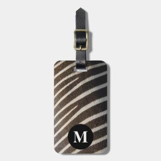 Monogram Black White Zebra Animal Stripe Print Luggage Tag